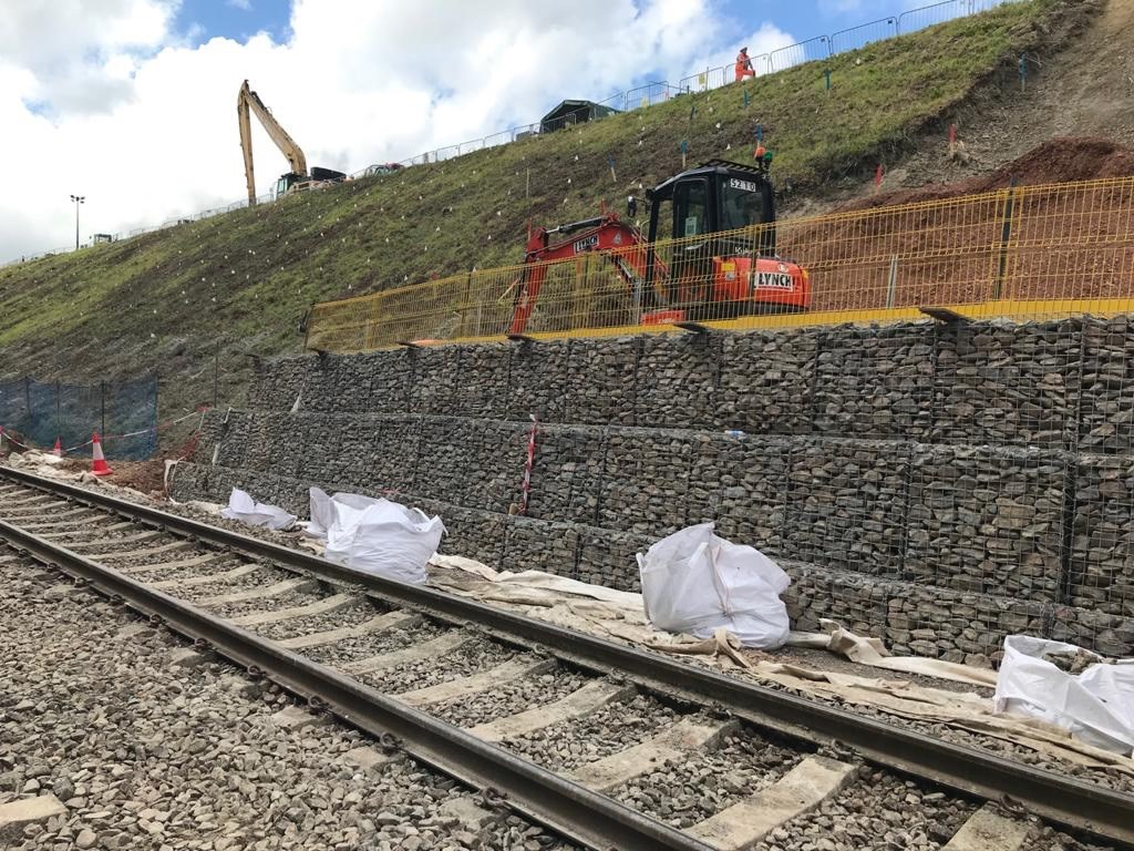 Templecombe gabion wall: Gabion wall, supporting the cutting slope near Templecombe