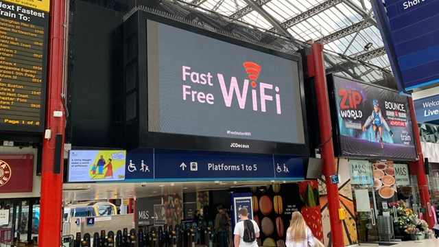 Free and fast WiFi for Liverpool Lime Street passengers: Liverpool Lime Street concourse wifi signage