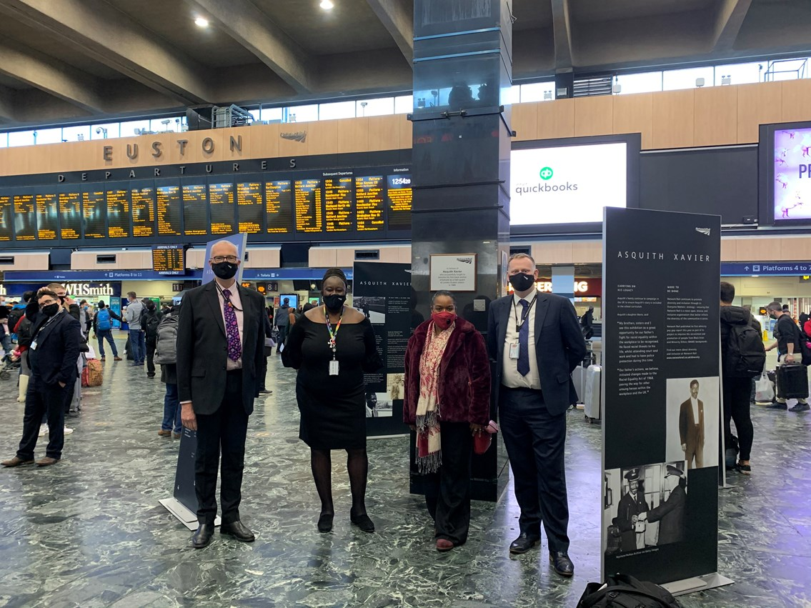 Network Rail colleagues with Maria Xavier at the Asquith Xavier exhibition launch at Euston station