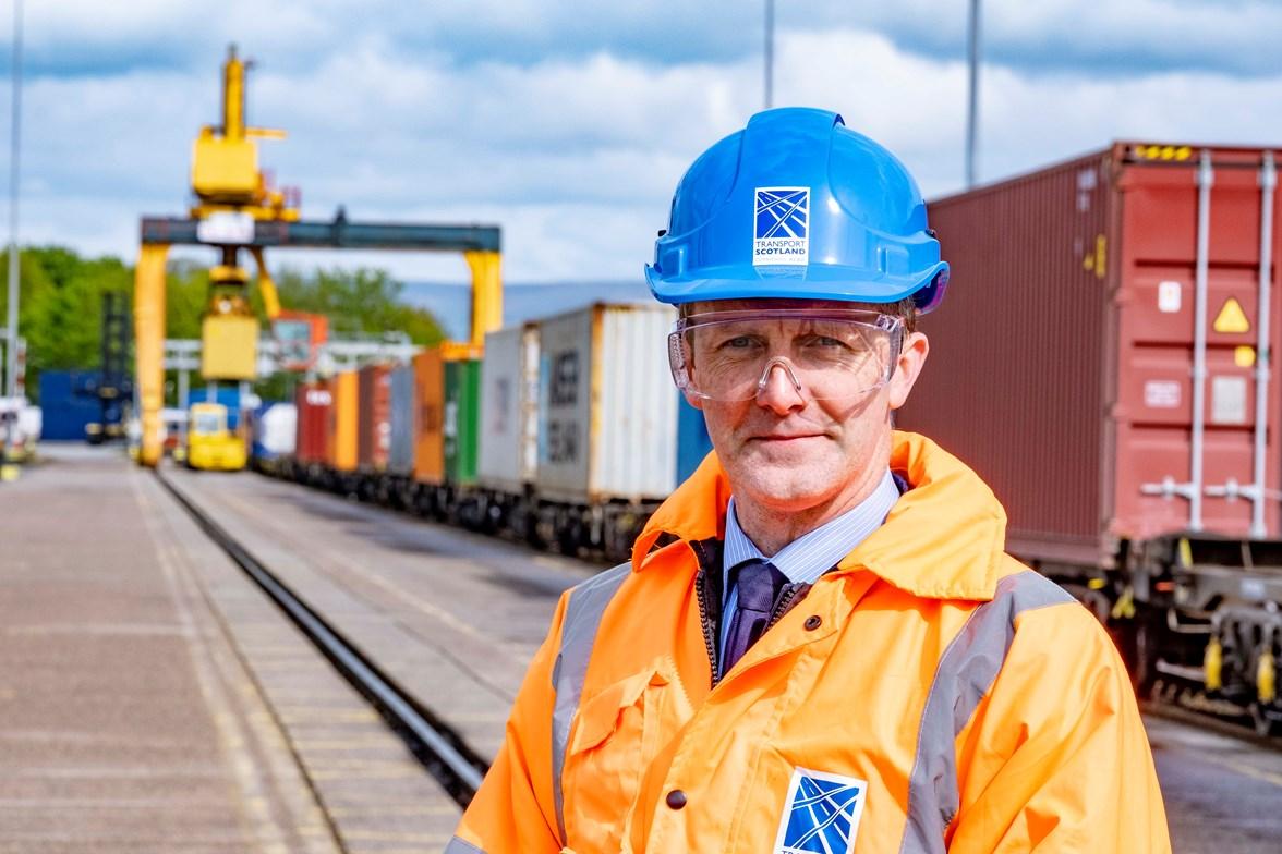Transport Secretary Michael Matheson at freight yard ii