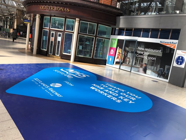 Stations floored by support for our NHS heroes: Glasgow Central NHS floor vinyl