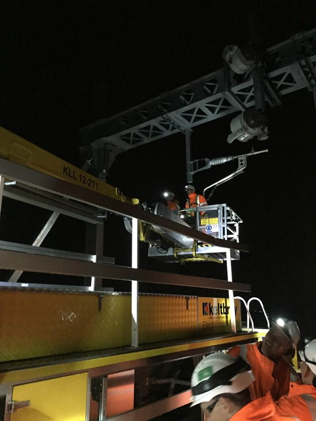Railway neighbours invited to find out more about upgrades between Preston and Blackpool: Installation of overhead electrification wiring 1