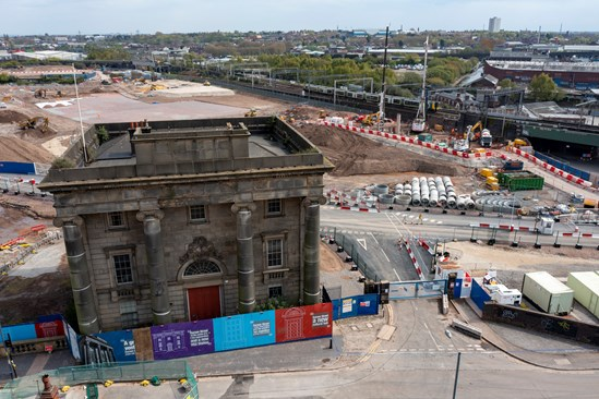 Old Curzon Street Station view from drone