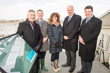Siemens plans new rail factory in Goole 3: LR - Vernon Barker, Managing Director, Siemens' UK Rolling Stock Business Unit, Gordon Wakeford, Siemens' Managing Director, UK Mobility Division, Ruth Humphrey, Siemens' Project Director, Transport Secretary Chris Grayling and Andrew Percy MP.