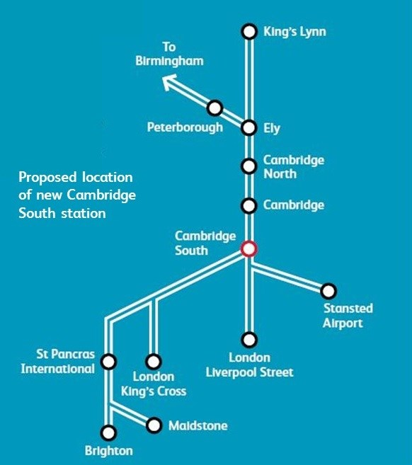Public consultation for new Cambridge South Station starts in January 2020: Cambs South Station Map