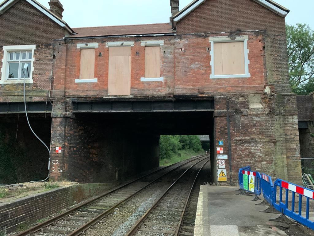 Big step towards new bridge at Eridge station in East Sussex: Eridge footbridge is demolished on Saturday, 4 July