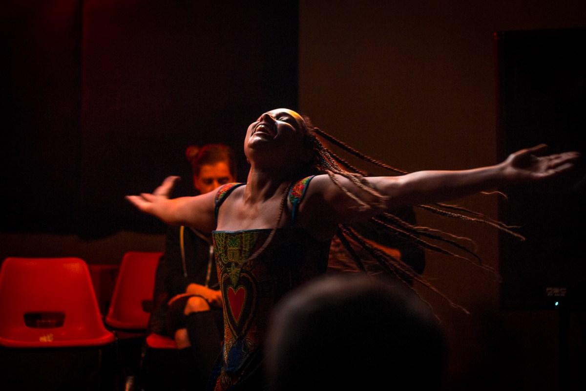 Mara Menzies performing at the Workers Theatre Weekender, 2017