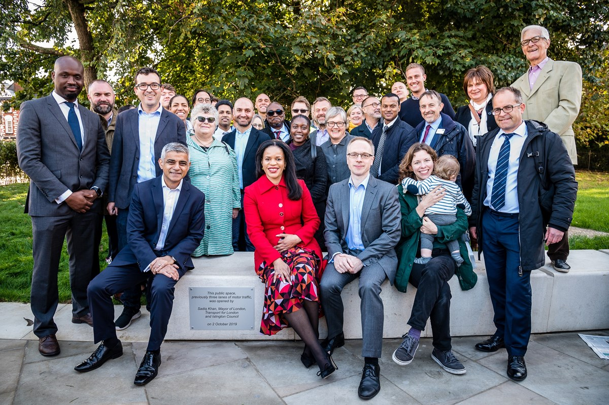 The Mayor of London, Sadiq Khan, joins Cllr Claudia Webbe, Islington Council's executive member for environment and transport, and Cllr Richard Watts, leader of Islington Council (L-R front row) to officially launch the transformation of Highbury Corner with local residents, campaigners, councillors and project team members