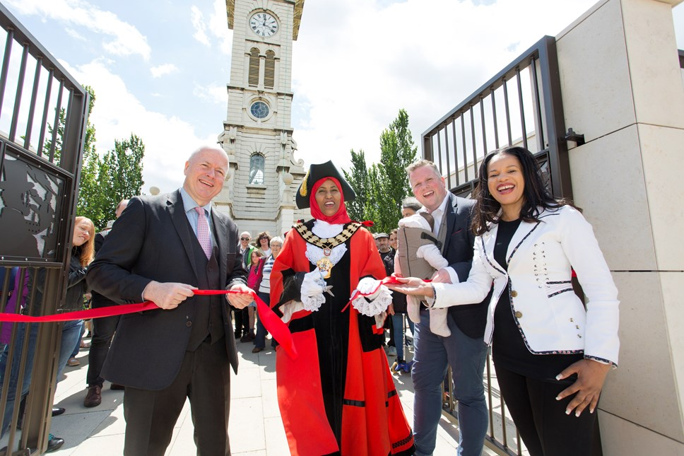 Caledonian Clock Tower and new Heritage Centre are heart of the park: The grand opening of the Caledonian Clock Tower on June 8, 2019, with (L-R) Cllr Paul Smith; The Mayor of Islington, Cllr Rakhia Ismail; Cllr Diarmaid Ward and Cllr Claudia Webbe, executive member for environment and transport