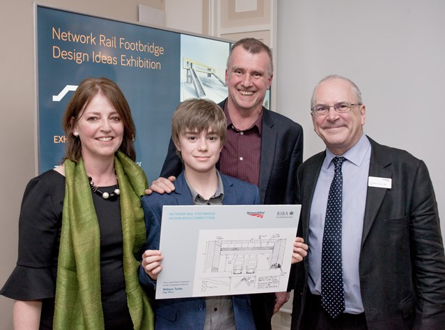 10-year-old boy praised for entry in Network Rail's footbridge design competition: William Tonk and parents with Sir Peter Hendy