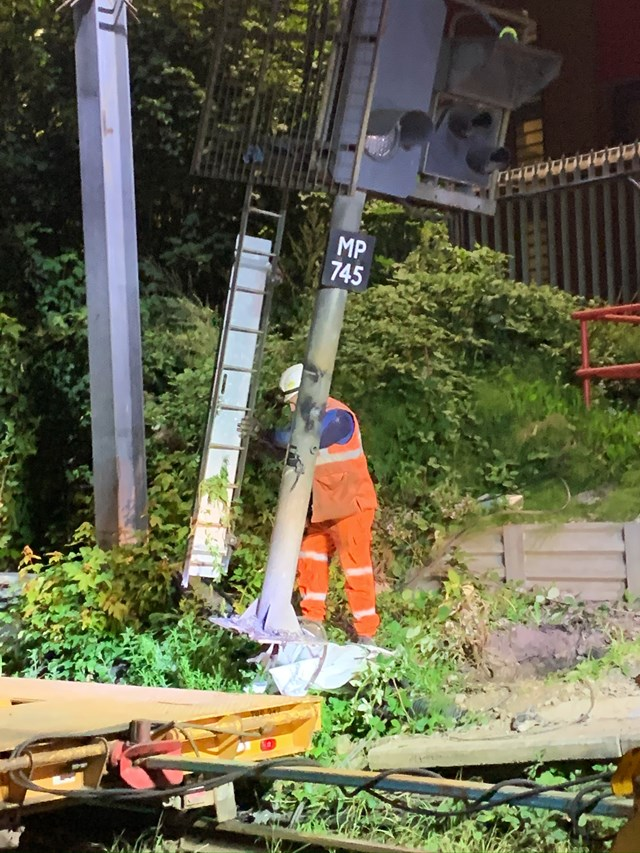 Old signal being removed during Trafford Park upgrade