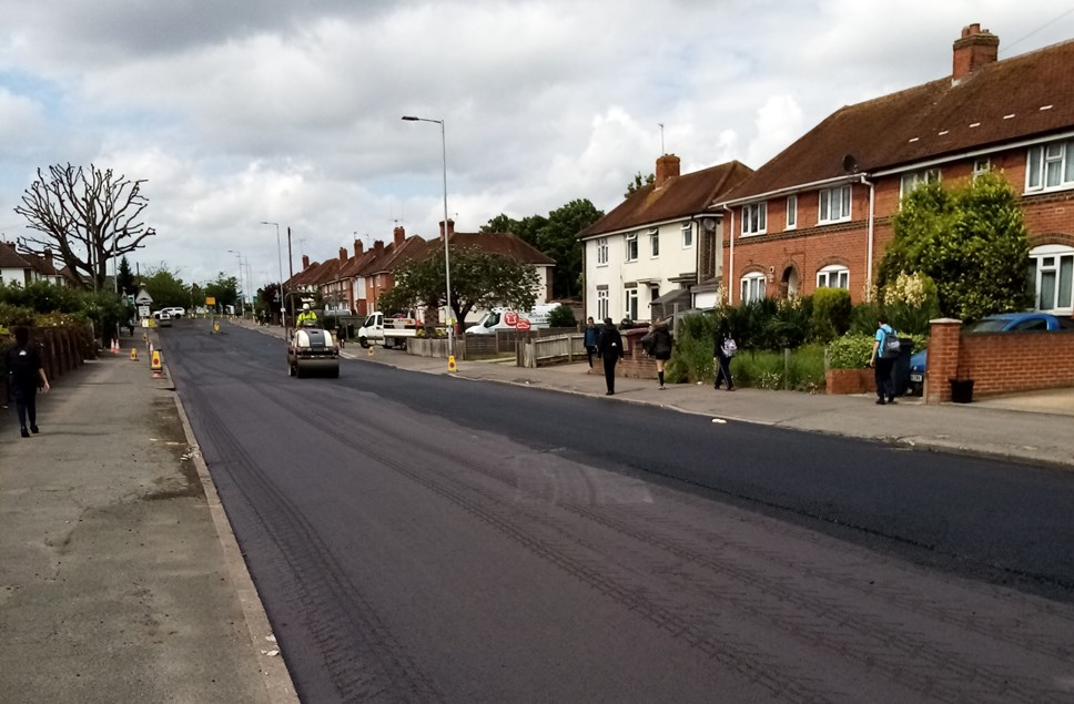 The new road surface on Northumberland Avenue, completed this summer and part of the Council's investment in improved roads