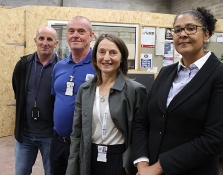 Elgin sheriff tours Community Payback project : Sheriff Olga Pasportnikov with (L to R) Peter Wilson, Paul Borland, Tish Richford