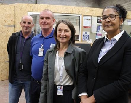 Sheriff Olga Pasportnikov with (L to R) Peter Wilson, Paul Borland, Tish Richford: Elgin sheriff tours Community Payback project