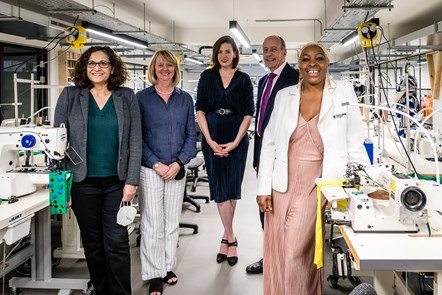 Pictured in the new FC Designer Workspace are, from left, Cllr Asima Shaikh, Executive Member for Inclusive Economy & Jobs, Jenny Holloway, Chief Executive of Fashion-Enter, Jennifer Sutton, Development Director at Fashion-Enter, Jules Pipe, London's Deputy Mayor for Planning, Regeneration and Skills, and local designer-maker Tricia Blake of Diva Choice.