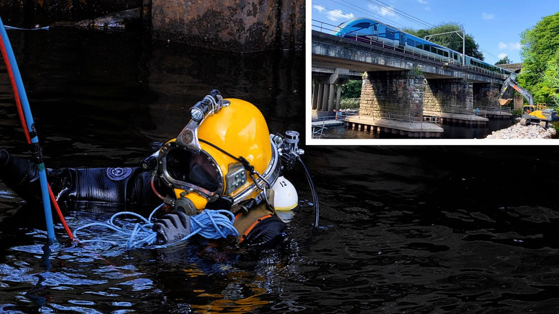 Divers pour underwater concrete to protect West Coast main line: River Eden railway viaduct diver repairs composite 1