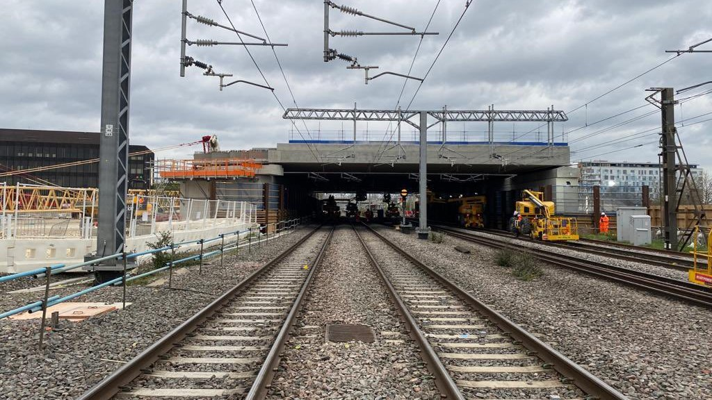 Bletchley flyover structure installed May 2021