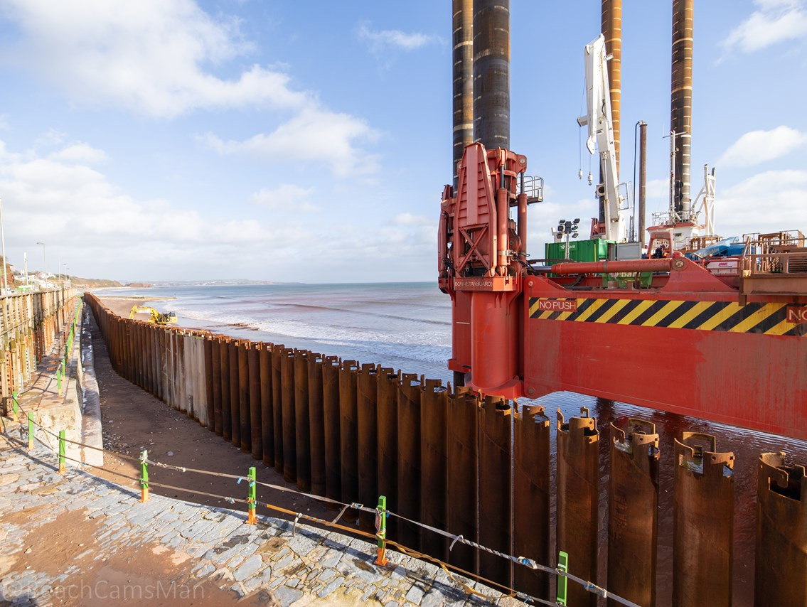 The Wavewalker installing the piling at the second section of new sea wall