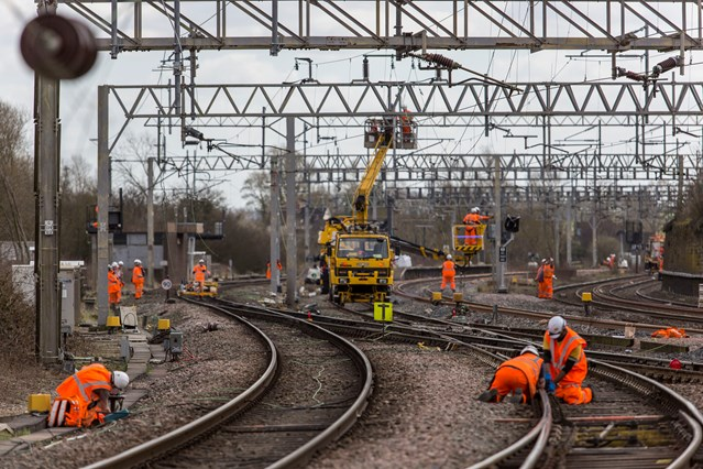 Network Rail delivers biggest Easter investment programme on time despite Storm Katie: Work at Norton Bridge, Staffordshire