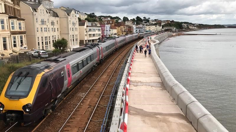 Vital rail link to the south west now better protected as first section of new Dawlish sea wall built: Dawlish sea wall reopened today