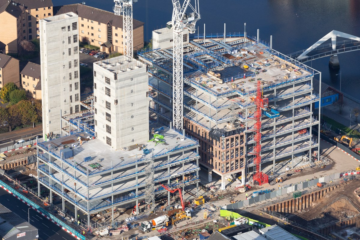 Barclays: Aerial view of Barclays at Buchanan Wharf in Tradeston under construction.  Buchanan Wharf will be home to Barclays new Glasgow headquarters.