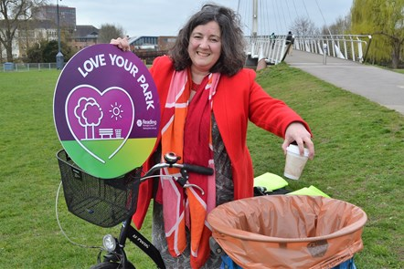 Cllr Adele Barnett-Ward, Reading's Lead Councillor for Neighbourhoods: Adele supporting the 'Love Your Park' anti-litter campaign. Image taken in Christchurch Meadows