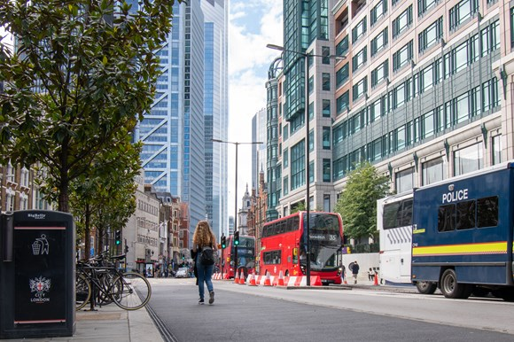 TfL Press Release - Bold changes transform Bishopsgate for people walking, cycling and using the bus: TfL Image - Transforming Bishopsgate