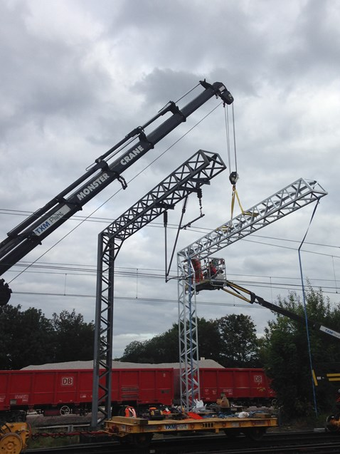 Chase line electrification - Walsall gantry being installed