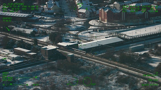 Aerial view of Tamworth station in the snow - Credit: Network Rail Air Operations team