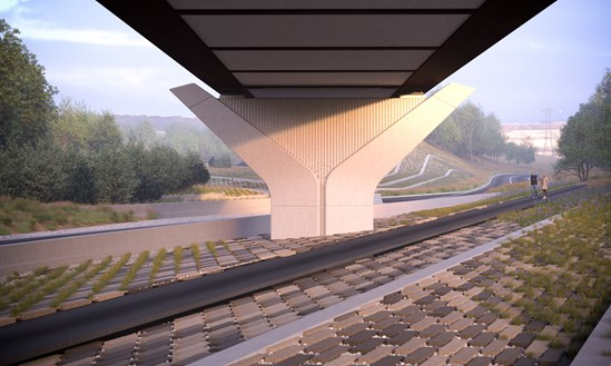 Small Dean Viaduct November 2019: Credit: Hs2 Ltd.  Computer generated image (CGI) of a small dean viaduct (SDV) (Computer, generated, image, CGI, structure, small dean viaduct, dean, viaduct, SDV,) Internal Asset No. 10314