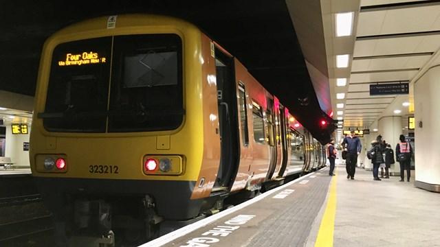Weekend track improvements for Birmingham's Cross City line: Cross City line train in Birmingham New Street November 2019