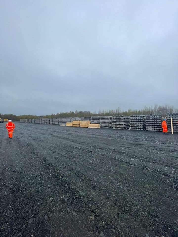 16,000 Sleepers at Thornton Yard: Sleepers stored in Thornton Yard will form part of the new Leven rail link