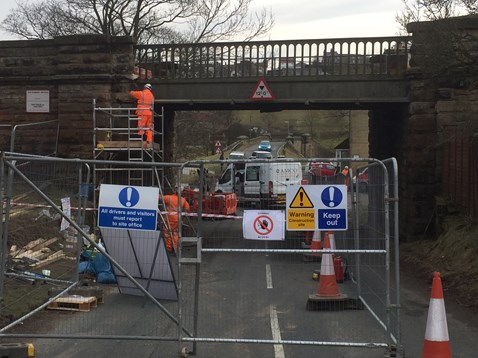 The railway bridge at Castleton Moor was struck by a vehicle on Monday 12 March 2018