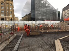Constructing the final section of the new concourse at London Bridge: Final preparations and reinforcements are made ahead of one of the last concrete pours out of a total of 65,000 cubic metres of concrete that form the new concourse at London Bridge.