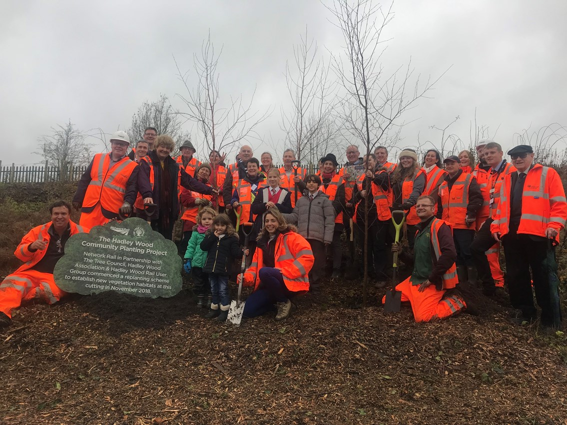 Members of the local Hadley Wood community, Tree Council and Network Rail at tree planting