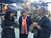 Fiona Hyslop with Taeko Seki (left) from the Japan Scotland Association, and Mr Hirai (right) at the Anyoi
