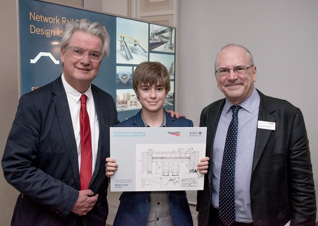 Tamworth schoolboy praised at international design competition for footbridge of the future: RIBA President Ben Derbyshire, William Tonks and  Network Rail chairman Sir Peter Hendy
