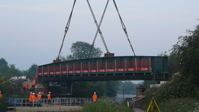 Selby Canal bridge 2: New bridge is lowerd into place