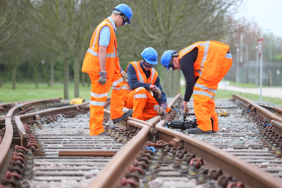 MORE JOBS FOR THE GIRLS, SAYS RAIL CHIEF (Surrey / Hants): Apprentices on the learning track 003