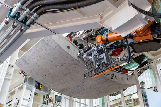 Krokodyl robot lifts TBM tunnel segment November 2020: Credit: Align JV (Krokodyl, Dobydo, Innovation, TBM, South Portal) Internal Asset No. 19348