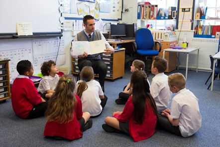 Education -  teacher reading to class of children
