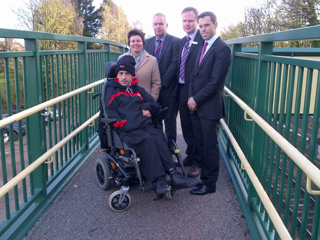 Better access for passengers at Chirk station thanks to new footbridge: Gareth Stafford at Chirk station with Wrexham County Borough Councillor David Bithell, Gareth Woodruff from Network Rail, Susan Elan-Jones, MP for Clwyd South, and Ken Skates, AM for Clwyd South