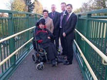 Gareth Stafford at Chirk station with Wrexham County Borough Councillor David Bithell, Gareth Woodruff from Network Rail, Susan Elan-Jones, MP for Clwyd South, and Ken Skates, AM for Clwyd South