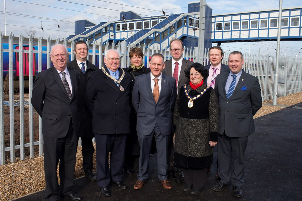 New Footbridge at St Neots station unveiled: St Neots Footbridge completion event official photo