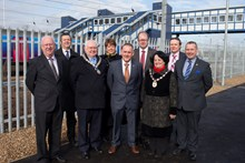 St Neots Footbridge completion event official photo: Representatives from Network Rail, Huntingdonshire District Council, Cambridgeshire County Council, First Capital Connect, St Neots Town Council and devlopers Gallaghers UK.