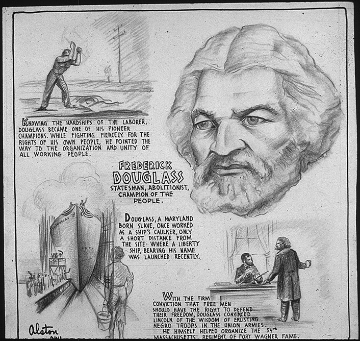 Frederick Douglass: Poster from Office of War Information. Domestic Operations Branch. News Bureau, 1943