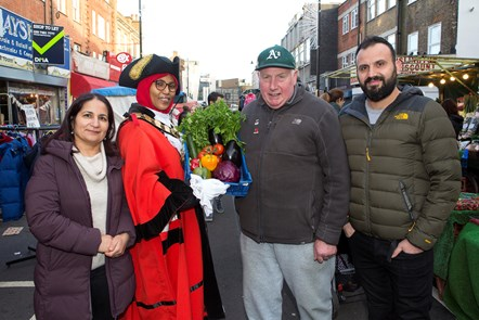Market Trader of the Year 2019: Islington Market Trader of the Year 2019 - (L-R) Serpil Erce, the Mayor of Islington Cllr Rakhia Ismail, Dave Jackson, Racheed Muhammed of Sunny's Olive Tree