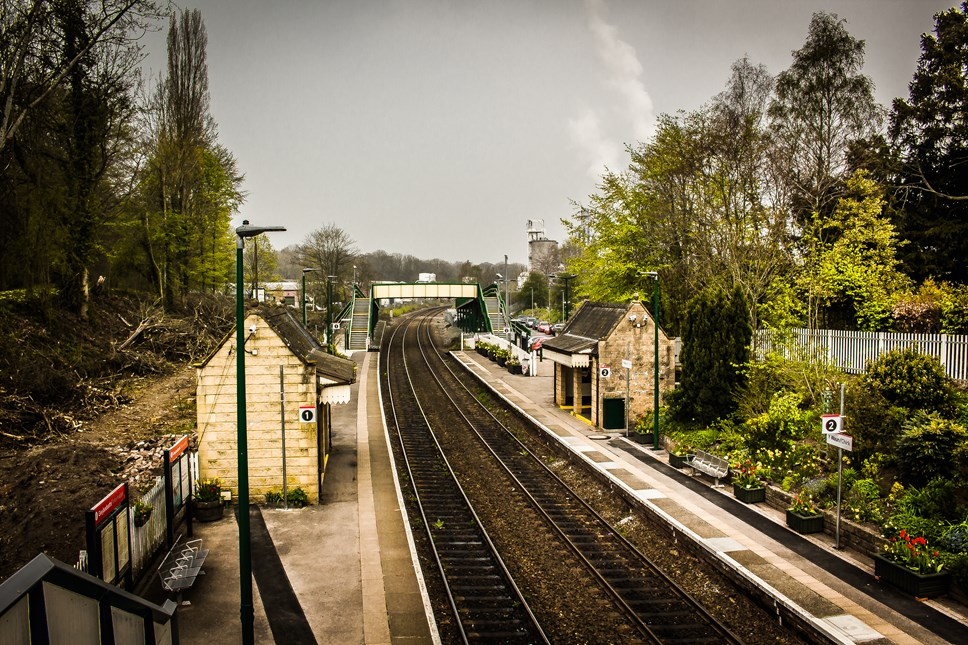 Small businesses the key for major station investment say Transport for Wales: Chirk station from above