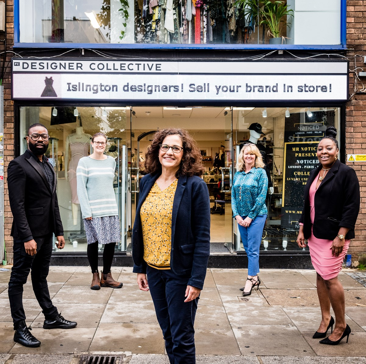 Outside the FC Designer Collective store,(from left) Boaz Otudeko, Sarah Hill, Cllr Asima Shaikh, Fashion-Enter CEO Jenny Holloway and Tricia Blake