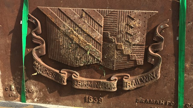 The found Manchester and Birmingham Railway plaque